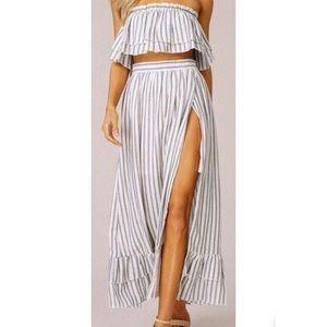 Gray striped set